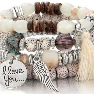 Jewelry - Multilayer Bead Boho Wing Summer Bracelet Bangle